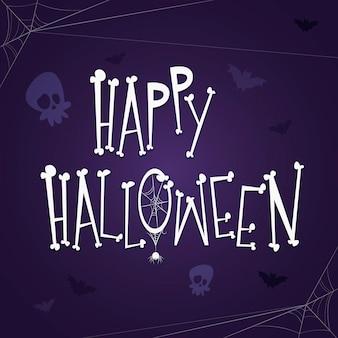 Glücklicher halloween-schriftzug mit knochen