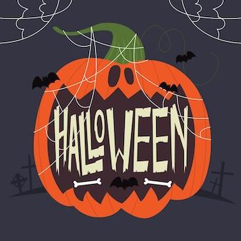 Glücklicher halloween-schriftzug mit kürbis