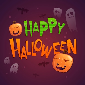 Glücklicher halloween-schriftzug mit kürbissen