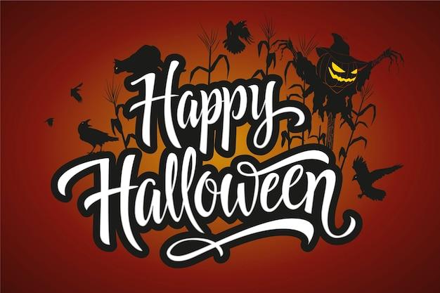 Glücklicher halloween-schriftzug mit vogelscheuche