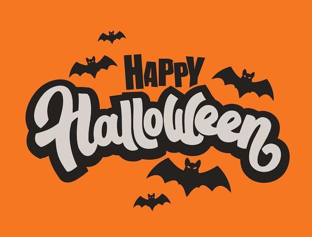 Glücklicher halloween-schriftzug.