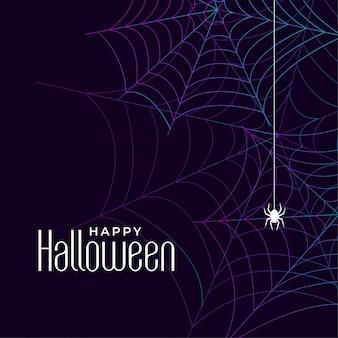 Glücklicher halloween-spinnennetzhintergrund mit spinne