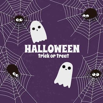 Glücklicher halloween-spinnennetzhintergrund