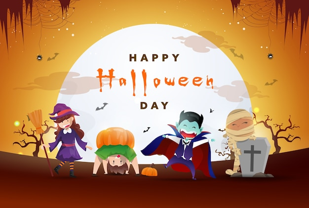 Glücklicher halloween-tageshintergrund mit der partei der niedlichen monster.