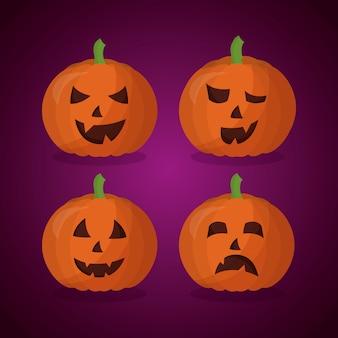 Glücklicher halloween-tageskürbissatz