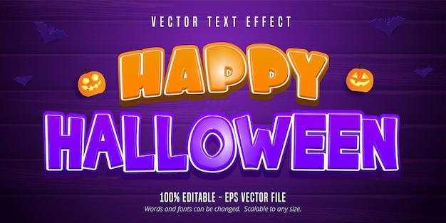 Glücklicher halloween-text, bearbeitbarer texteffekt der karikaturart auf lila hölzernem hintergrund