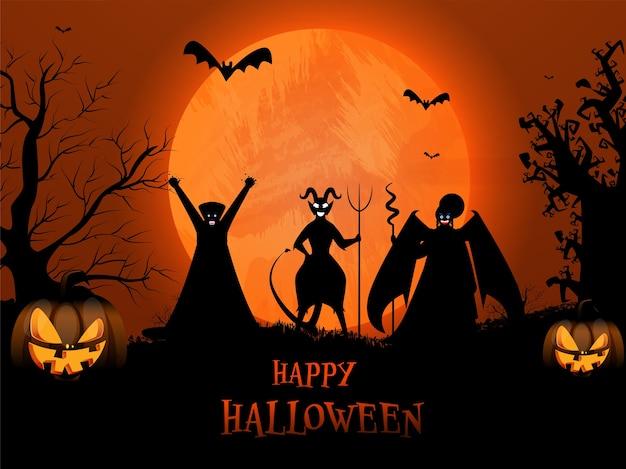 Glücklicher halloween-text mit cartoon-hexe