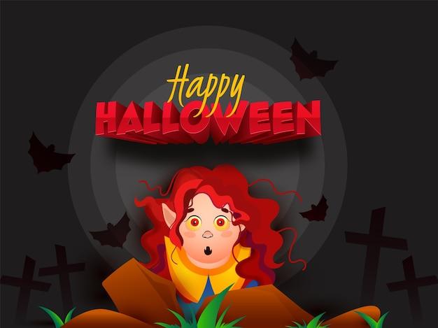 Glücklicher halloween-text mit cartoon-hexencharakter