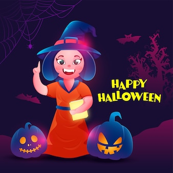 Glücklicher halloween-text mit fröhlichem weiblichem hexen-haltebuch
