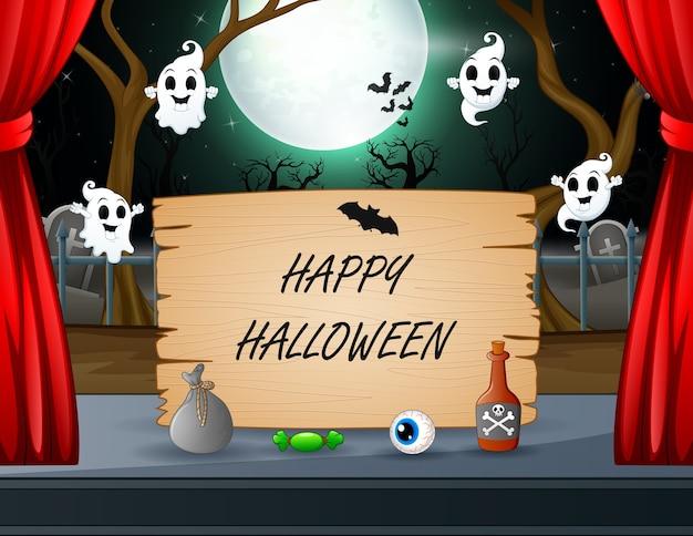 Glücklicher halloween-text mit geist, der um das zeichen fliegt