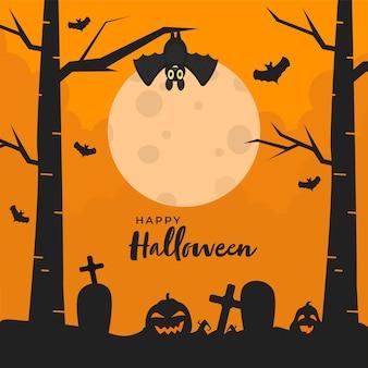 Glücklicher halloween-text mit jack-o-laternen