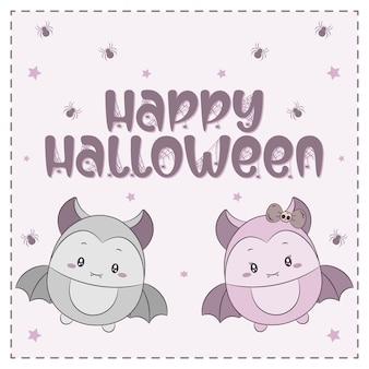 Glücklicher halloween-text mit niedlichen zeichnungsfledermäusen
