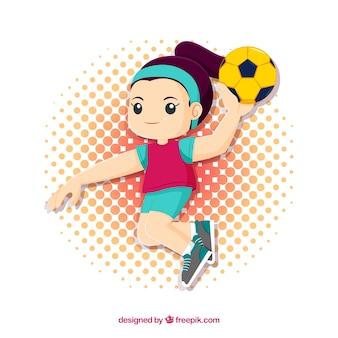 Glücklicher handballspieler mit flachem design
