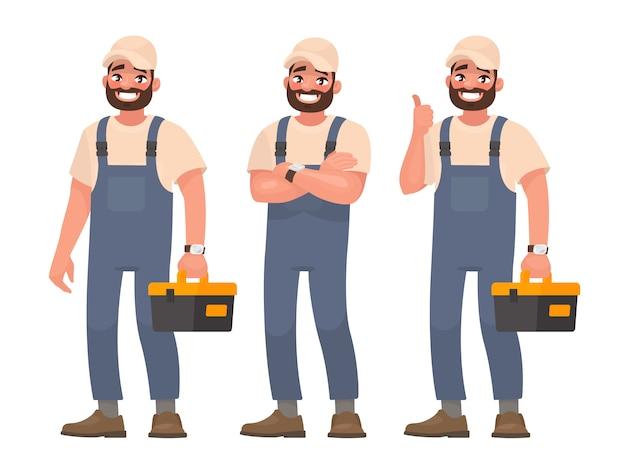 Glücklicher handwerker oder mechaniker mit werkzeugkasten. set von verschiedenen posen.