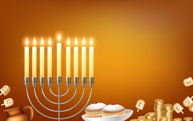 Glücklicher hanukkah jüdischer festivalfeierhintergrund mit menora kandelaber beleuchtet sechs spitze davidsternsymbole