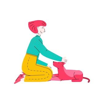 Glücklicher haustierbesitzer, der ihre junge karikaturfrau des hundes streichelt, die sich mit tier hinsetzt