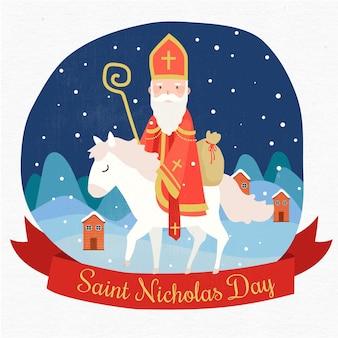 Glücklicher heiliger nicholas tag auf einem weißen pferd