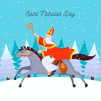 Glücklicher heiliger nicholas tag, der ein schönes pferd reitet