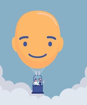Glücklicher heißluftballon in kopfform. positives gesicht mit einem lächeln schafft optimistische lebens- und geschäftsstimmung, menschen schweben hoch oben, genießen freiheitsreise, hoffnung und vertrauensbild. vektor-illustration