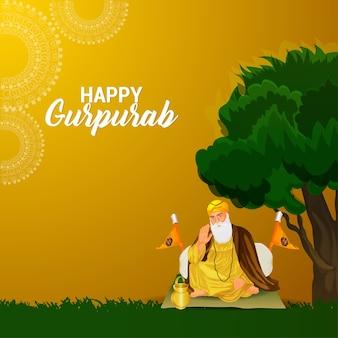 Glücklicher hintergrund der gurpurab-feier