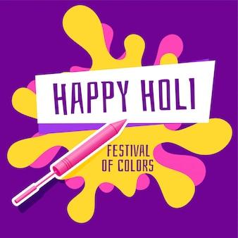 Glücklicher holi festivalgruß mit pichkari und farbspritzen