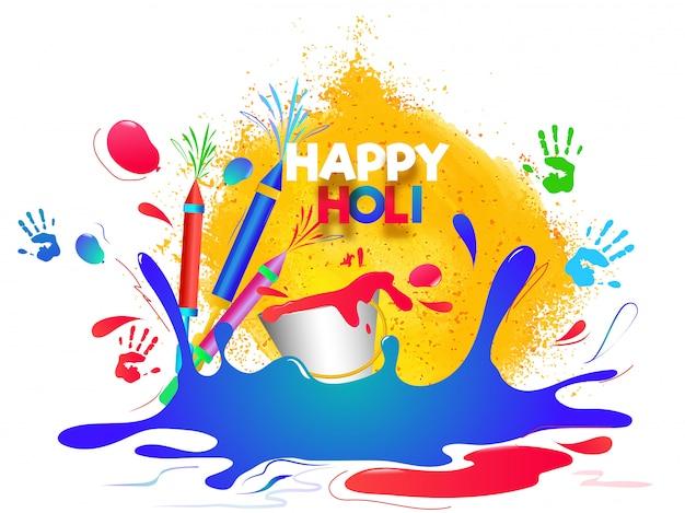 Glücklicher holi-hintergrund mit farbspritzen, farbkanonen und eimer i