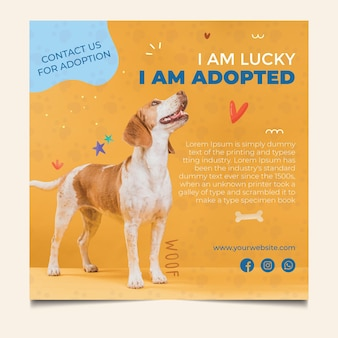 Glücklicher hund adoptieren eine haustierquadratfliegerschablone