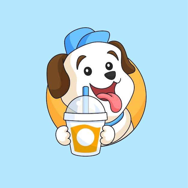 Glücklicher hund, der frische köstliche getränkeschale tiermaskottchenkarikatur-vektorillustration hält