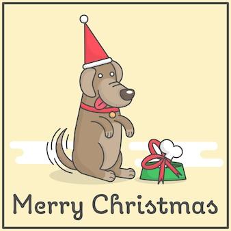 Glücklicher hund mit geschenk der frohen weihnachten im netten flachen karikaturdesign für dekoration und design