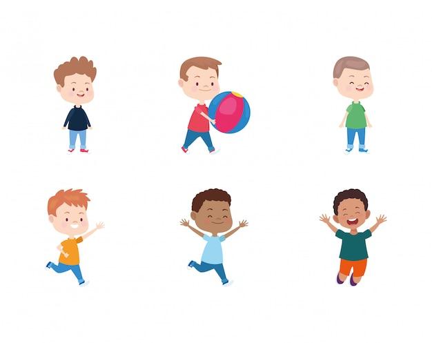 Glücklicher ikonensatz der kleinen jungen der karikatur