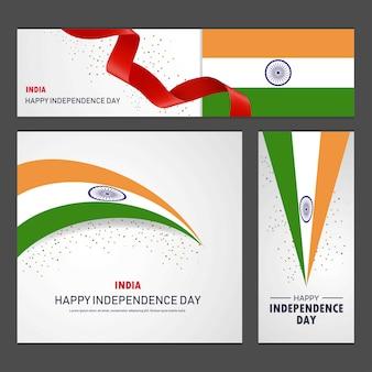 Glücklicher indien-unabhängigkeitstag fahnen- und hintergrund-satz