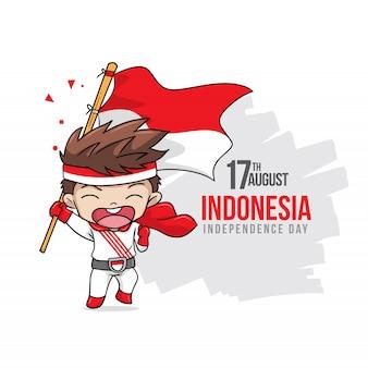Glücklicher indonesien-unabhängigkeitstag mit glücklichen kindern