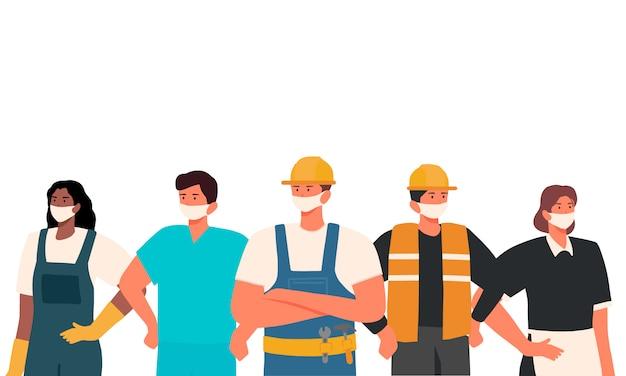 Glücklicher internationaler tag der arbeit. menschen gruppieren unterschiedliche berufssätze mit medizinischen masken