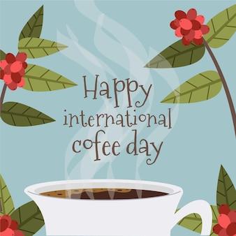 Glücklicher internationaler tag des kaffeeflachdesigns