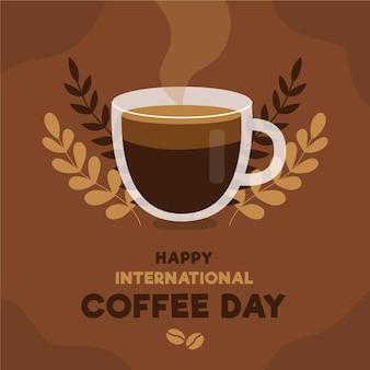 Glücklicher internationaler tag des kaffees mit dampf