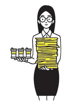 Glücklicher interner büroangestellter, der dokument mit kaffee hält