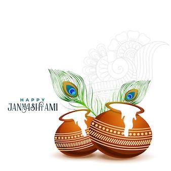 Glücklicher janmashtami hintergrund mit matki und makhan