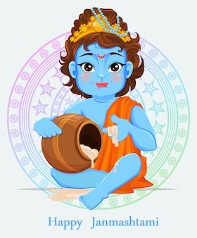 Glücklicher janmashtami. wir feiern die geburt von krishna