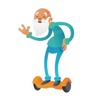 Glücklicher jugendbärtiger großvater oder alte mannkarikaturfigur, die die taille hält und auf schwebebrett oder elektrischem selbstausgleichendem kreiselroller reitet.