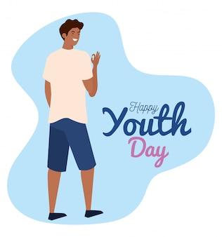Glücklicher jugendtag, junger mann afro glücklich für feierjugendtag