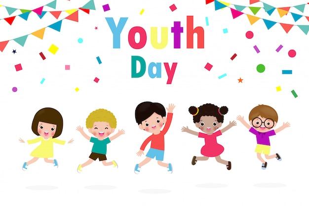 Glücklicher jugendtag teen people gruppe von verschiedenen mädchen und jungen, die zusammen springen