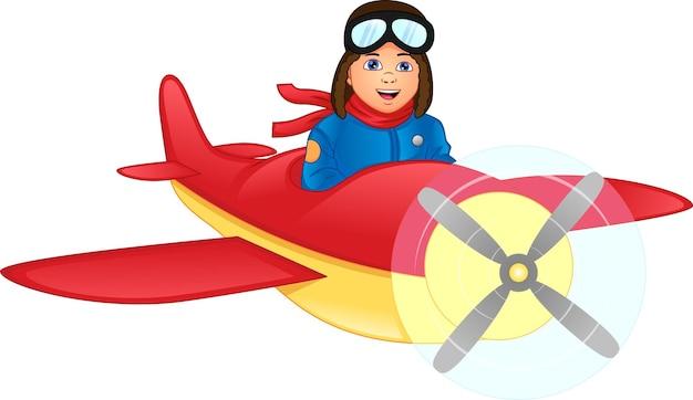 Glücklicher junge, der ein flugzeug reitet
