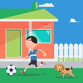 Glücklicher junge, der fußball mit hund spielt. vektor-illustration