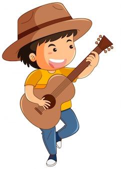 Glücklicher junge, der gitarre spielt