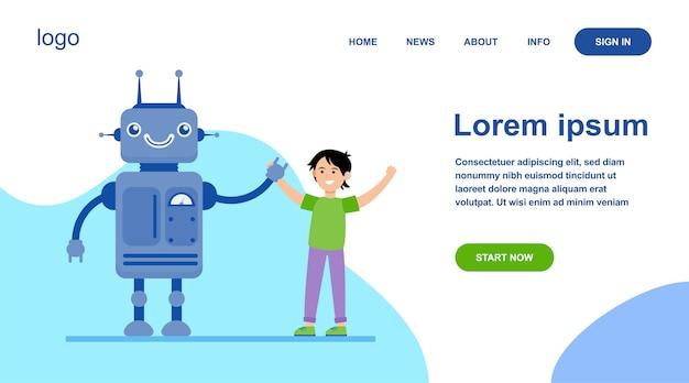Glücklicher junge, der hände mit roboter aufsteigt