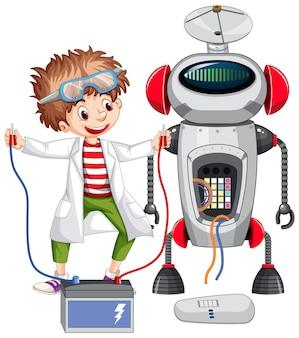 Glücklicher junge, der roboter auf weißem hintergrund baut