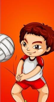 Glücklicher junge, der volleyball spielt