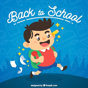 Glücklicher junge geht zur schule mit rucksack und bleistift