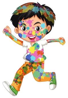 Glücklicher junge mit aquarellfarben auf seinem körper