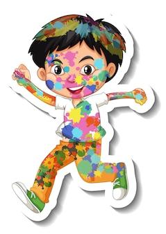 Glücklicher junge mit farbe auf seinem körperaufkleber auf weißem hintergrund